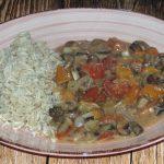 Champignon-Tomaten-Gemüse mit Reis